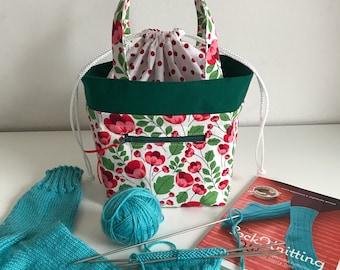Poppy Knitting project bag, small Standard project bag, crochet project bag, wip bag, spindle bag, yarn bag, yarn project bag