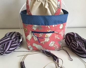 TAAT bag, Two at a Time Sock Knitting bag, TAAT project bag, knitting bag, standard small Craft Bag, Crochet Bag, Yarn Bag, WIP Bag