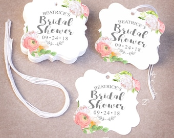 THANK YOU Bridal Shower Tags Personalized | 25,50,75,100,200 Wedding Favor Tags | Floral Peonies