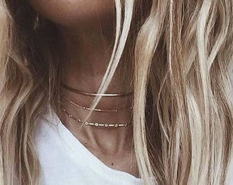 Satellite Chain Choker, 14k Gold Fill Choker, Chain Choker, Gold Choker, Gold Necklace