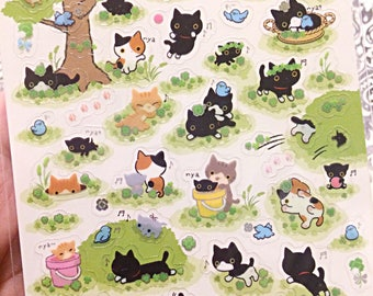 San-X Kutusita Nyanko  - kawaii sticker sheet - kawaii stickers - kitty