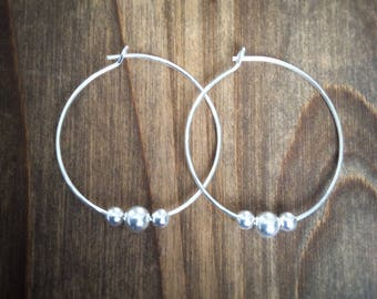 HOOP EARRINGS - Silver Hoop And Bead Earrings - Silver Hoops