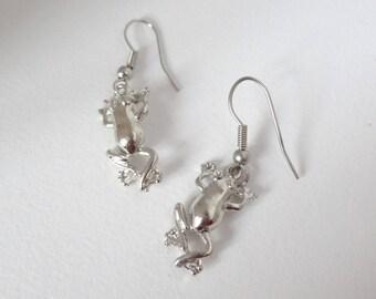 """Earrings silver, original, """"my little frog!"""""""