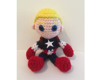 Captain America Amigurumi Crochet Doll