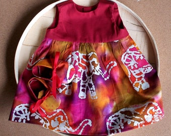 Elephant Print Indian Batik Infant Dress & Booties