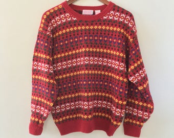 vintage 90's fair isle red floral sweater! size small