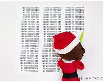 Naughty Elf, Naughty Elf writes 100 times, Christmas Elf Accessories, Santa's Elf Prop, Elf Printable, Christmas Elf Ideas, Easy Elf Ideas