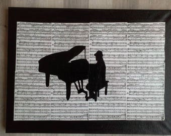 music pianist on sheet music painting