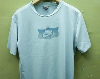 Vintage Nike Shirt Big Logo Sportswear Streetwear Top Tee T Shirt Blue Color Size L