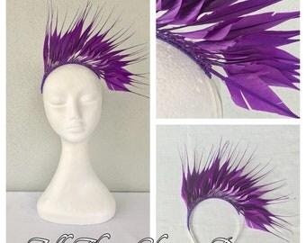 Ladies purple feather headband fascinator
