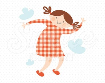 HAPPY JUMPING GIRL Clipart Illustration for Commercial Use | 0027
