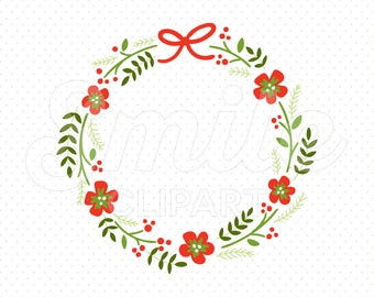 RED FLOWER WREATH Clipart Illustration for Commercial Use | 0038