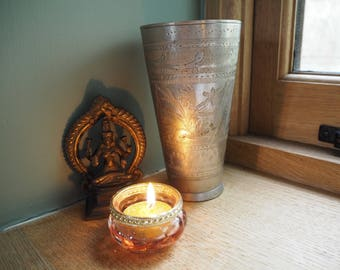 Beautiful Vintage Indian Engraved Floral Brass Hippie Boho Ethnic Tribal Vase Lassi Cup Tumbler