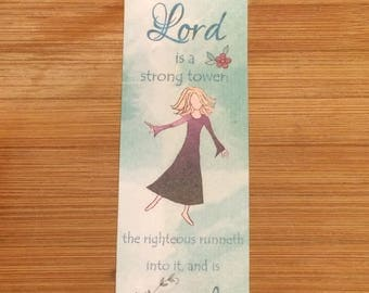 Bible Verse Bookmark - Proverbs 18:10 -  handmade WITHOUT tassel  (stock #11) the name of the Lord