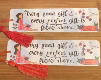 Bible Verse Bookmark - James 1:17 -  handmade WITH tassel  (stock #23) every good gift and every perfect gift