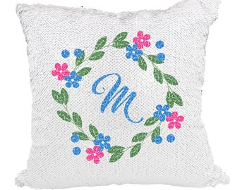 Personalized Mermaid Sequin Pillow, Custom Mermaid Pillow, Monogram Pillow, Custom Sequin Pillow **WITH STUFFING***