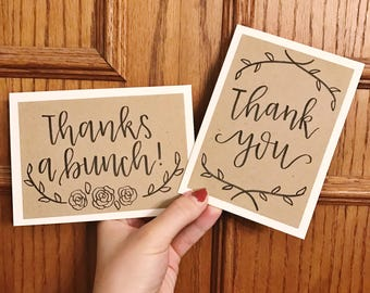 Floral Set of 6 Thank You Cards - Thanks a Bunch - Thank You - Cream card with kraft paper overlay