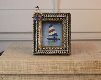 Sailboat embellished picture frame