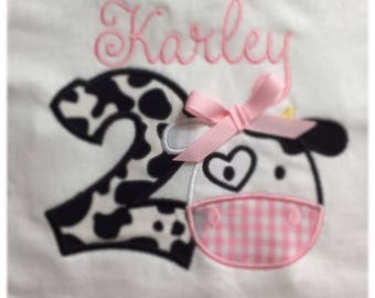 Personalized Cow Shirt. Personalized Second Birthday Shirt. Birthday Cow Shirt. Cow Applique shirt. Personalized Farm Animal Shirt.
