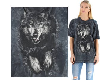 Wolf Shirt 90s Animal Print  Shirt Gray Black Tie Dye Graphic T Shirt Slouch Shirt 1990s Vintage Hipster Large