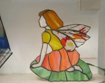 Stained glass Orange Garden Fairy