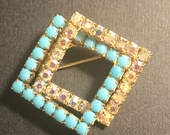 Vintage faux turquoise and Aurora Borealis Brooch,