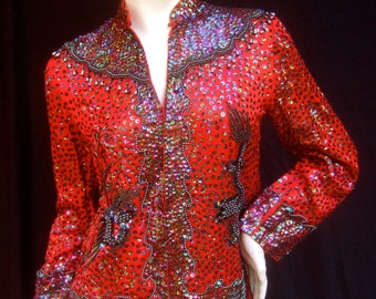 Exquisite Scarlet Silk Beaded Asian Theme Evening Jacket