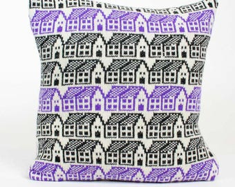 Knitted wool pillow  - luxury cashmere cushion - Scandi style house pattern cushion - purple cushion - Luxury duck pad -fairisle pattern