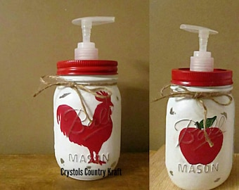 Kitchen soap dispensers,  rooster soap jar , apple soap jar, soap pump jar, rooster kitchen decor, apple kitchen decor, mason jar soap pump