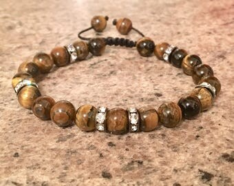 Luxury TIGERS EYE & Crystal Energy Healing Empowerment Bracelet Mens Ladies Confidence Courage Focus