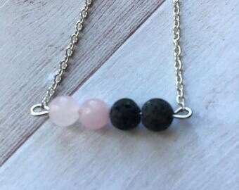 Rose Quartz And Lava Aromatherapy Necklace/ Essential Oil Necklace / Diffuser Necklace
