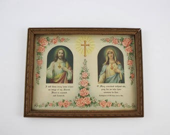 Antique Framed Litho Sacred Heart of Jesus - Immaculate Heart of Mary (SD625)