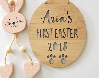 PERSONALISED First Easter- Bamboo-Wooden Door-Wall Hanging-Easter-Easter bunny-kids sign-door sign-personalized-easter gift-first easter