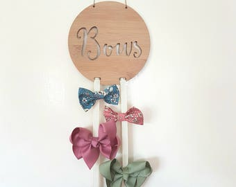 Wooden Bow-Hairclip holder -wall hanging-kids gift-baby gift-lasercut-plaque-head band-hair-organizer-hair accessories