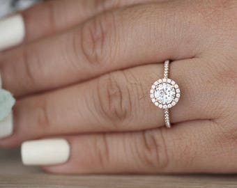 6mm Round Moissanite Engagement Ring, Forever Classic Moissanite Rose Gold Ring, Diamond Halo Ring, Half Eternity Diamond Band