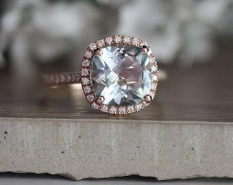 Rose Gold 9mm Cushion Aquamarine Engagement Ring, Wedding Ring, 14k, Rose Gold Ring, Bridal Ring, Diamond Halo Natural Aquamarine Ring