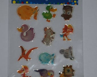"a sheet of stickers ""cartoon"" theme"