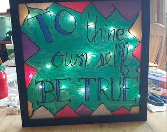 Stained Glass Window with Quote