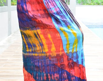 Adorable Colorful Tie Dye skirt , Multi Colored, Maxi Skirt,Hippie skirt,Handmade tie dye skirt, Boho skirt,Comfy, WS002-2