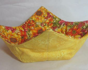 10 inch Microwave Bowl Cozy/Holder. Beautiful Yellow and Orange Florals and Yellow on Yellow Floral Print. Hostess or Housewarming Gift