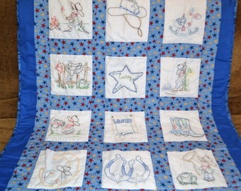 Embroidered Blue Cowboy Quilt