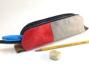 Pencil case made from paper fabric -- grey, red + navy