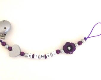 Pacifier clip personalized purple Silver flower and heart