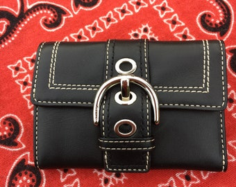 Coach Wallet / Vintage Coach Wallet / Beautiful Black Leather Buckle Wallet with Contrast Stitching / MINT