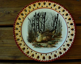 Reticulated plate LINCOLOR - woodcock decor - hand painted - Vintage - Made in France -