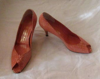 Pair of Coral Colored Bruno Magli Snakeskin Shoes, Size 7