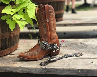 Leather python embellished western spur straps