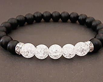 bracelet for women onyx and rock crystal bracelet black white bracelet nature stone bracelet bead bracelet womens gift for women wife