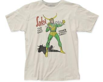 Loki The Evil One Men's Soft Fitted 30/1 Cotton Tee (LOKI02) Vintage White