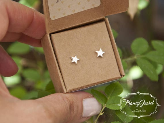 Stars earrings, silver ear pins, stud earrings, fine silver earrings, elegant earrings, best friend gifts, made in Italy, nichel free